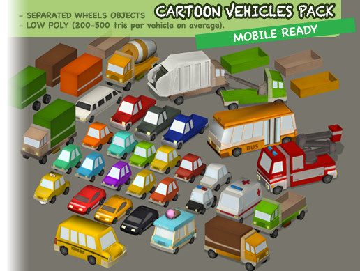 Cartoon Vehicles Pack - Cars, Trucks, and More