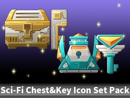 Sci-Fi Chest&Key Icon Set Pack