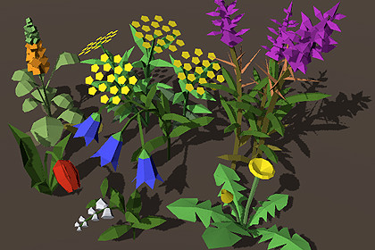 Lowpoly Plants # 3. Flowers.