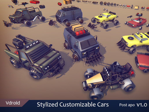 Stylized Customizable Cars (post apo v1)