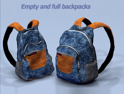 8 backpacks (empty and full mesh)