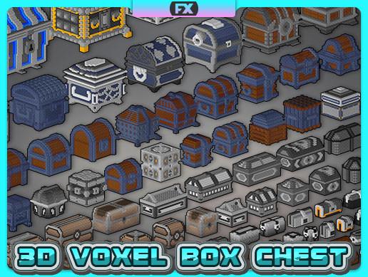 3D Voxel Box Chest - Set 001