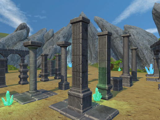 Stylized ruins and rocks