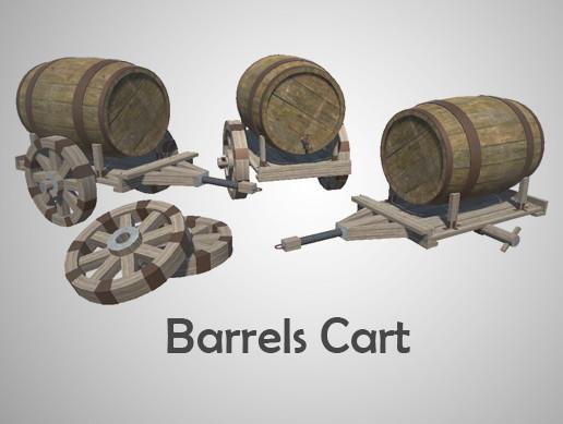 Wooden Barrel Cart PBR
