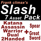 Frank Slash Pack 5 + 2 ( Katana, Assassin, Warrior, Dual, 2Handed + Spear, Great Sword)
