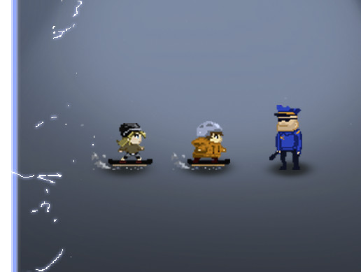 2D Retro Urban Skater Kids and Police officer
