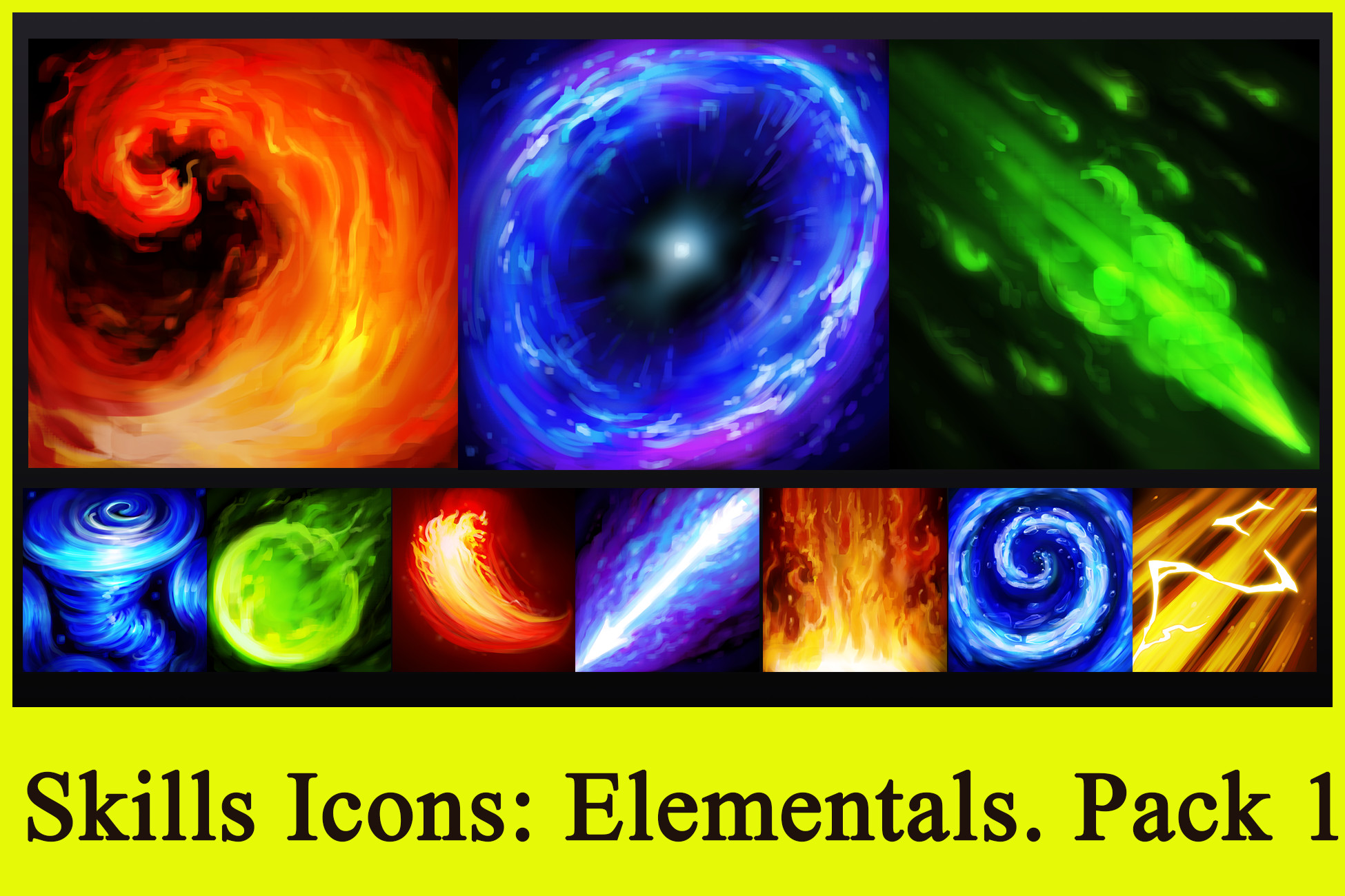 Skills Icons: Elementals. Pack 1