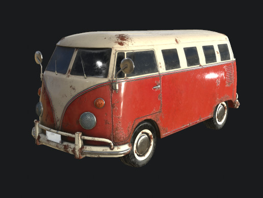 Low Poly Classic Bus PBR