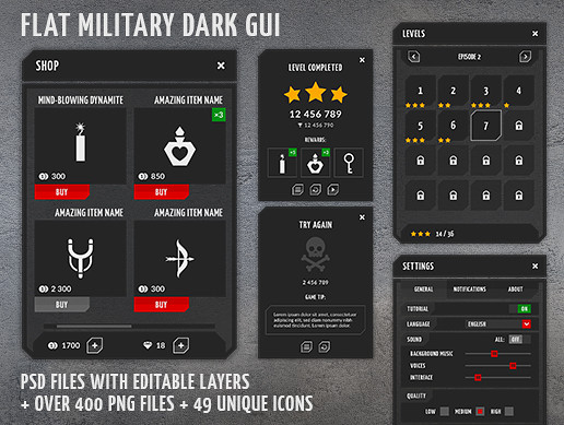 Flat military, dark, 4k GUI Kit - over 400 PNG files!
