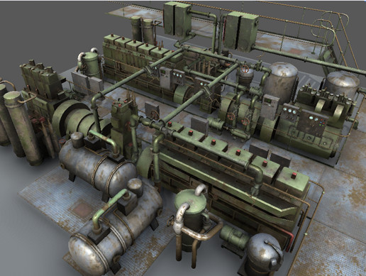 Low-poly machinery props pack