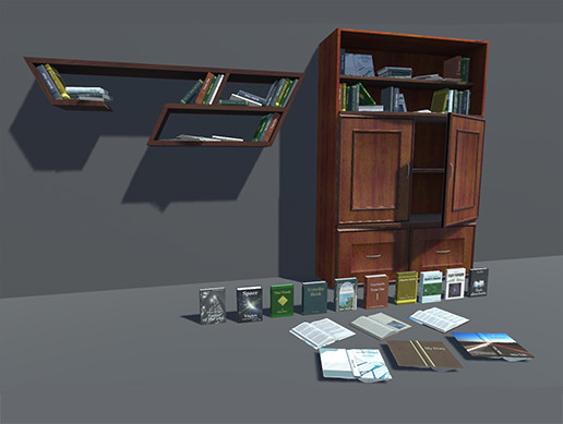 Old Cupboard and Shelf with Books