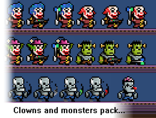 Clowns and Monsters Pixel Art Pack