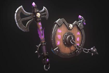 Fantasy Axe And Shield