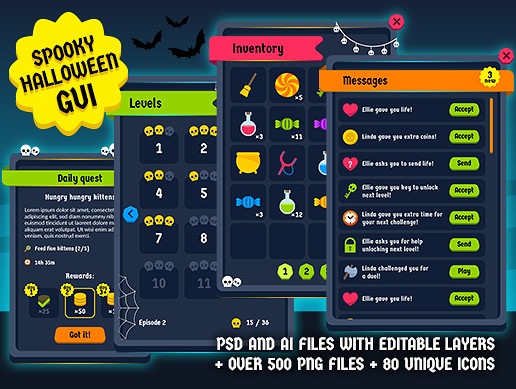 Spooky halloween GUI Kit - over 500 PNG files!