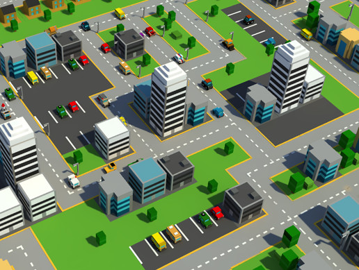 Low Poly City with Cars