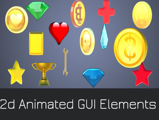 Animated Coins Crystals Brilliants Diamonds GUI Elements