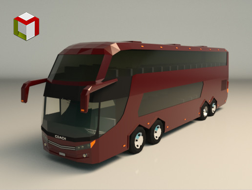 Low Poly Coach Bus 03