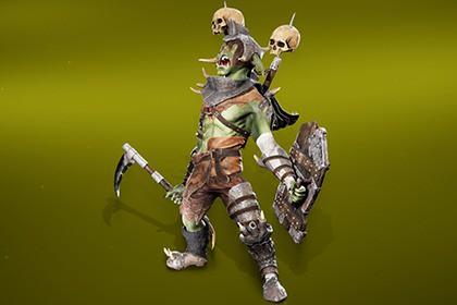 Goblin warrior with shield and scythe
