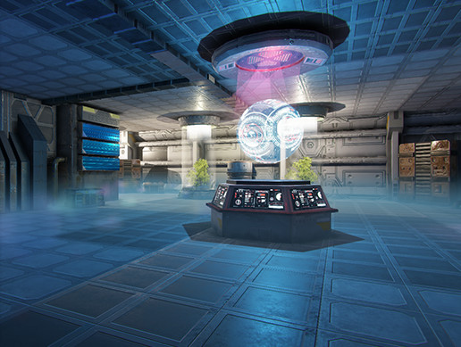 Pro-TEK Sci-Fi PBR Laboratory Interior with Hologram