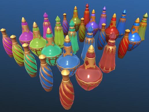 Stylized cartoon potions