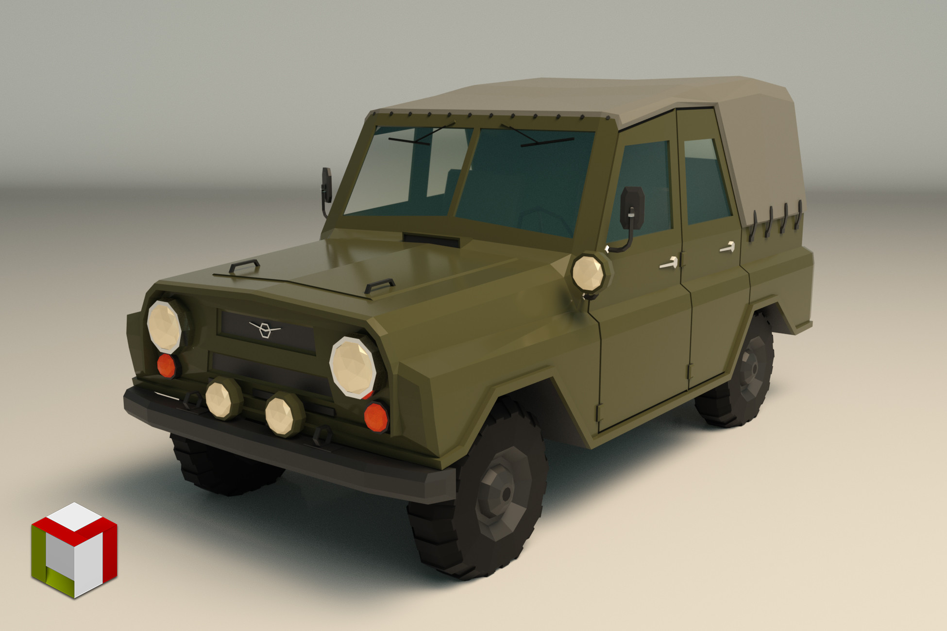 Low Poly Military Jeep 04