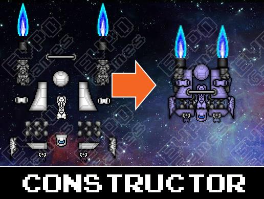 2D Pixel Spaceship Constructor