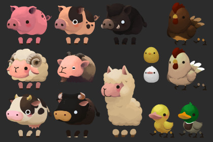 2D Cute Domestic Animal Pack V.1