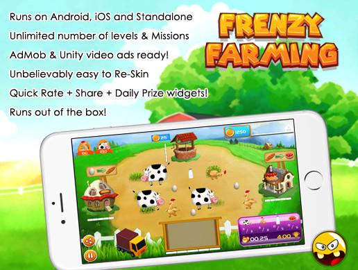 پروژه کامل یونیتی Frenzy Farming, time management game kit