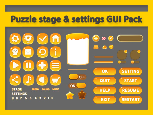 Puzzle stage & settings GUI Pack - Asset Store