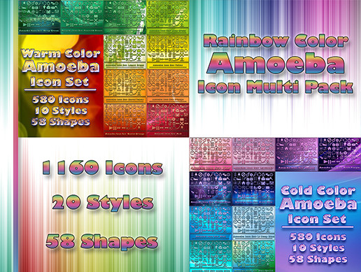 Rainbow Color Amoeba Icon Multi Pack