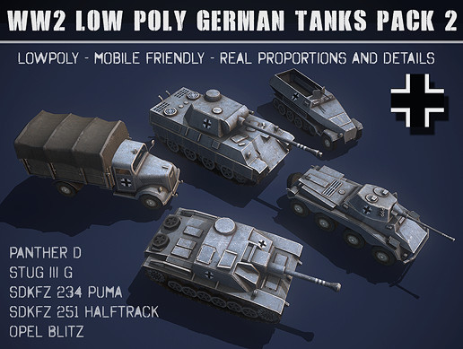 WWII Low Poly German Tanks #2 - Asset Store