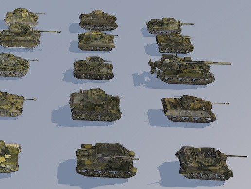 3D pack of 22 high detailed low poly military tanks VR AR low-poly 3d model model