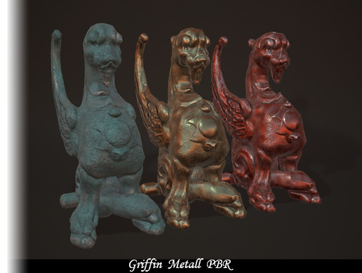 Pack of three optimized PBR low-poly models of a griffins