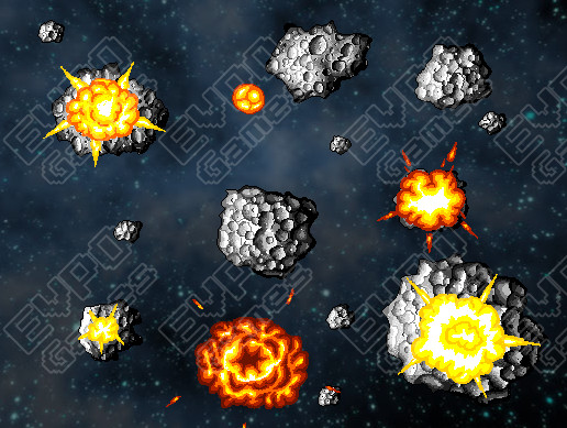 2D Pixel Asteroids (With Explosions)