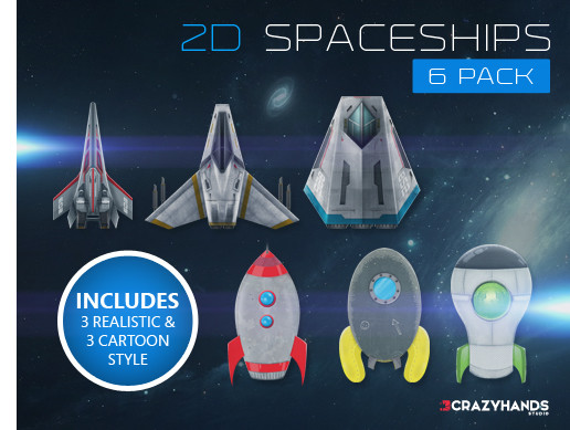 Spaceship 2D 6 Pack