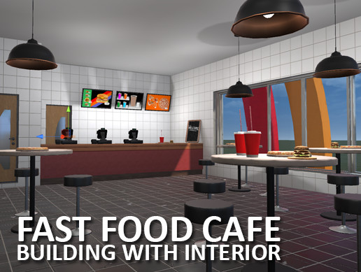 Fast Food Cafe - building with interior