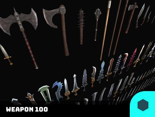 3D Models Prop Weapon 100 Set Pack