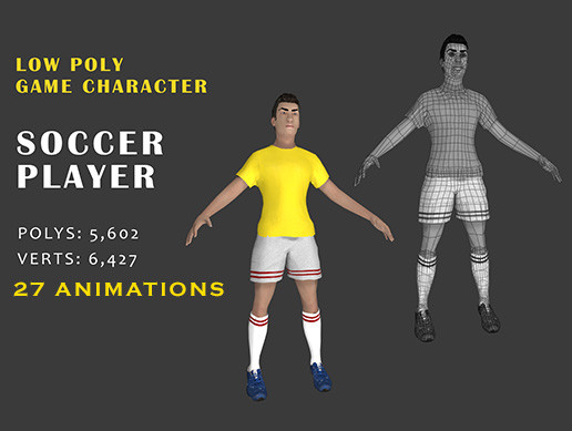 0fda533022 Soccer Player with 27 action animations - Asset Store