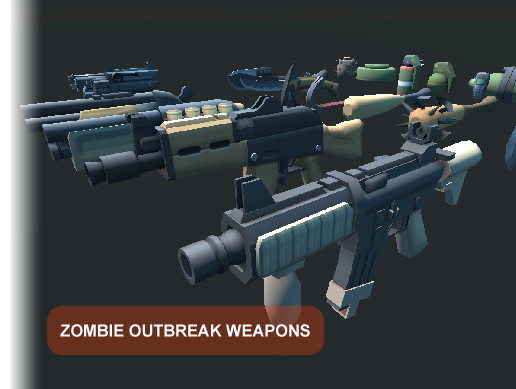 Zombie Outbreak Weapons - Cartoon style