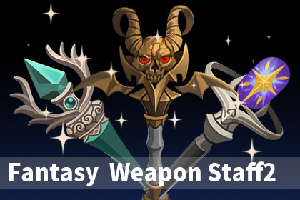 Fantasy Wizard Weapon Staff2 Set Pack