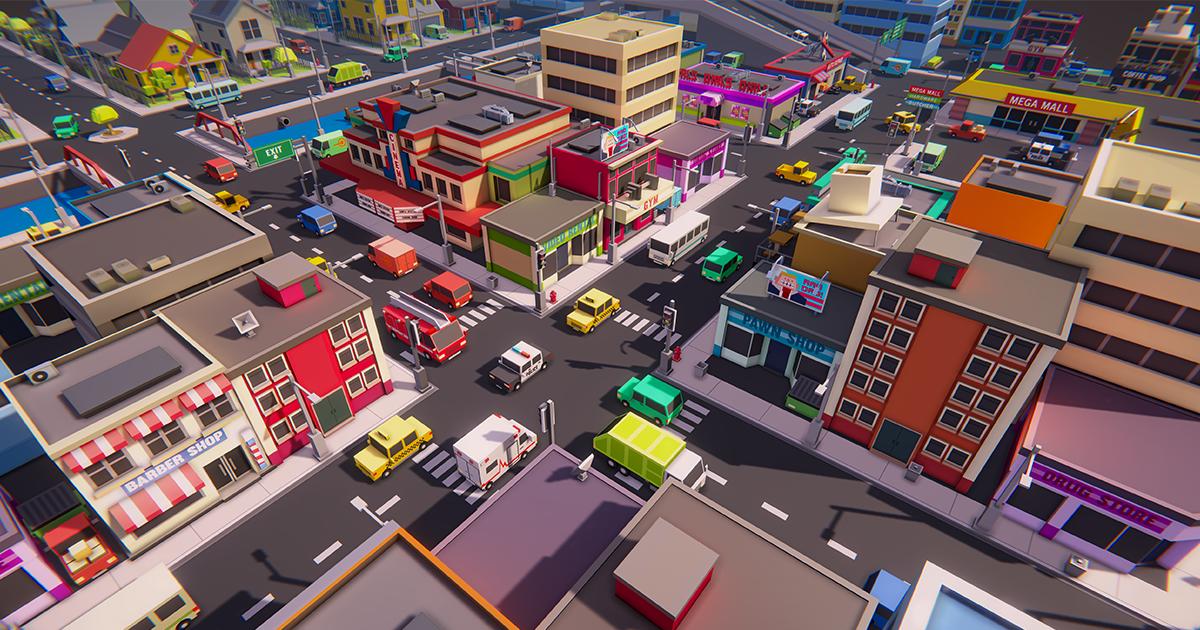 Simple Town - Cartoon Assets
