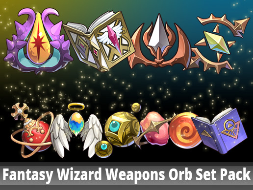 Fantasy Wizard Weapons Orb Set Pack