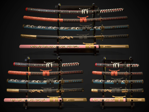 Collection of japanese swords