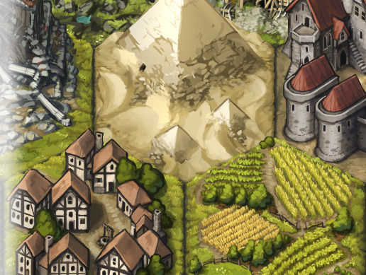 Painted 2D Location Hexes: Medieval-Fantasy