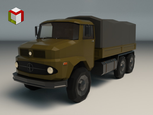 Low Poly Military Truck 03