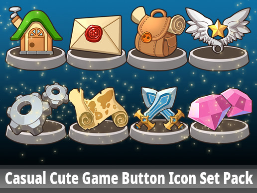 Casual Cute Game Button Icon Set Pack