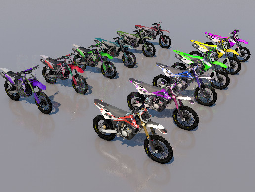 Pack Of 12 low poly game ready Dirt bikes