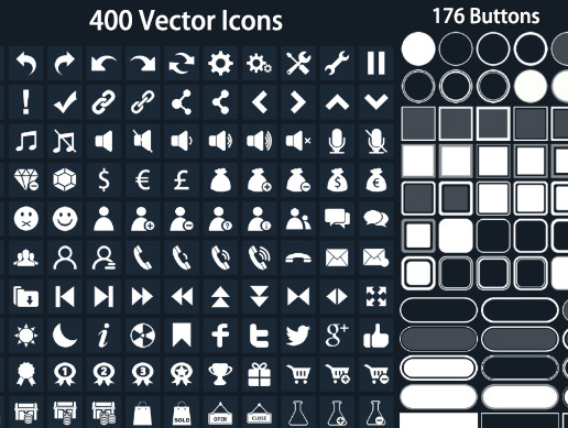 Clean Flat Buttons Icons 1