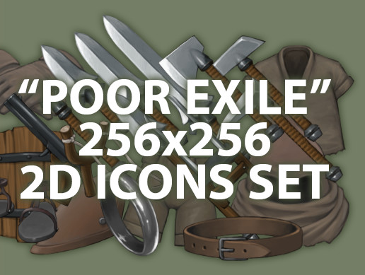 "2D RPG 256x256 icons set ""Poor exile"""