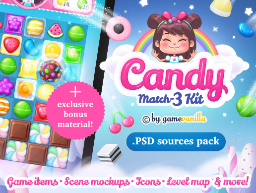 Candy Match 3 Kit .PSD Sources Pack